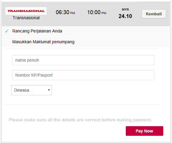 Beli ticket bas online select passenger