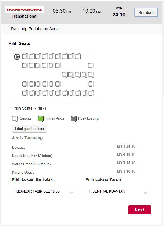 Beli tiket bas online select seat