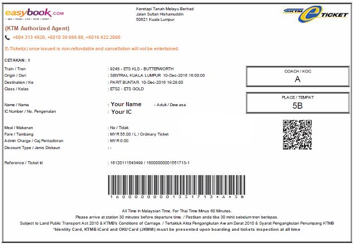 Tiket ETS Seremban Ke Padang Besar