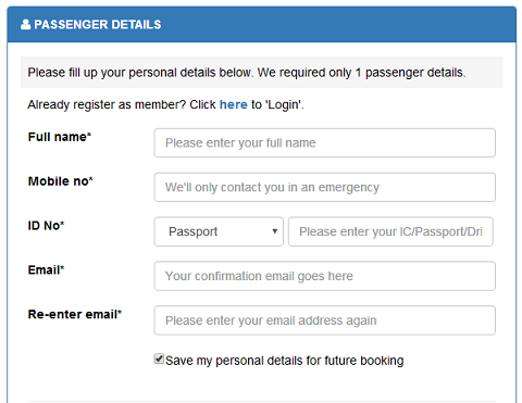 Jasa Pelangi Passenger Details BusOnlineTicket