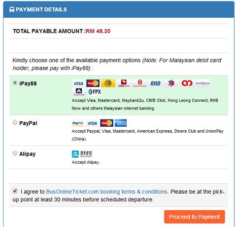 Jasa Pelangi Payment Details BusOnlineTicket