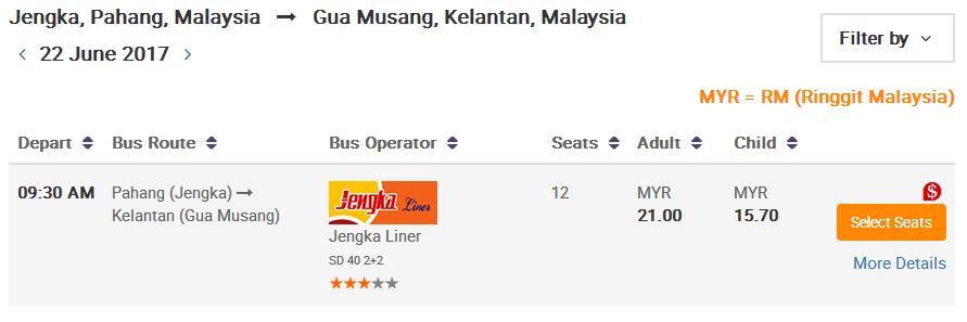 Jengka Liner Online Tiket Pilih Seat