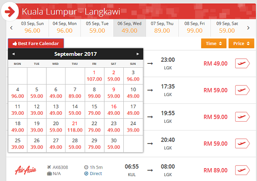 ticket price from KL to Langkawi