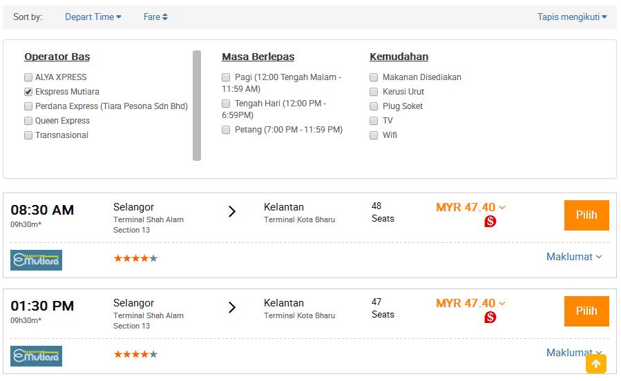 pilih seat bas mutiara shah alam easybook