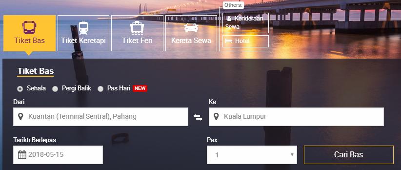 pilih perjalanan terminal sentral kuantan online easybook