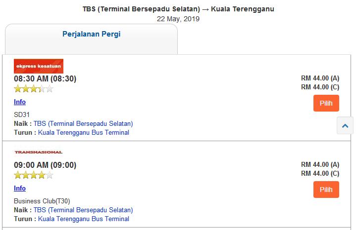 cara beli tiket bas online pilih seat