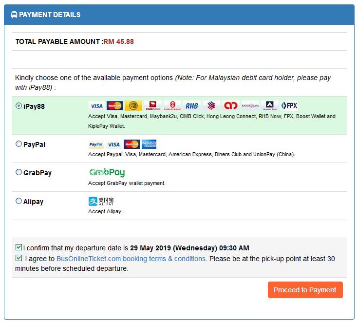 cara beli tiket bas online pilihan cara pembayaran