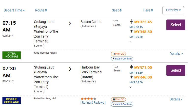 ferry schedule JB to Batam